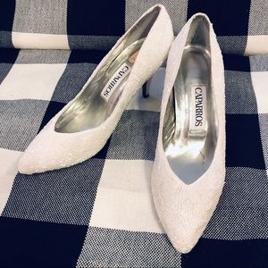 Vintage Caparros White Beaded Wedding Formal Shoe